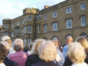 Ron talks outside Hillsborough Barracks.