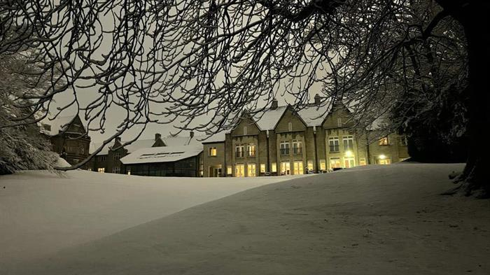 Kenwood Hall Hotel in the snow.