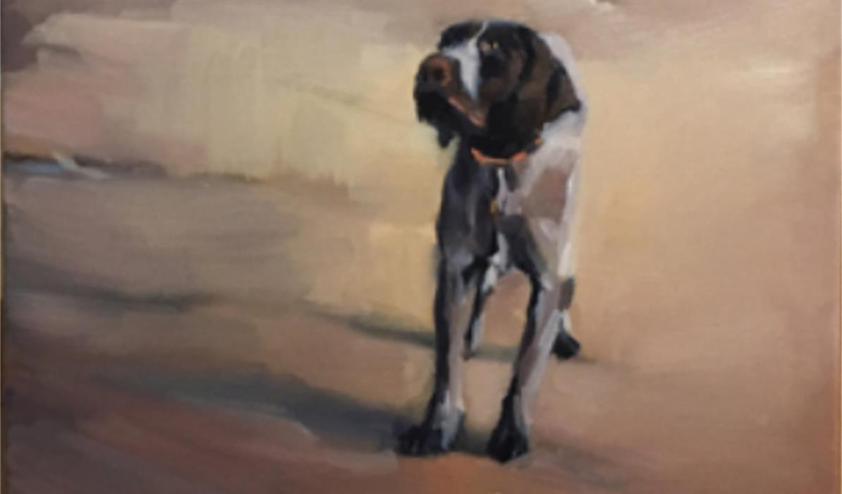 A portrait of a dog by Dougie Adams.